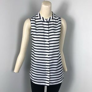 J. Crew Factory Printed Draped Top Striped